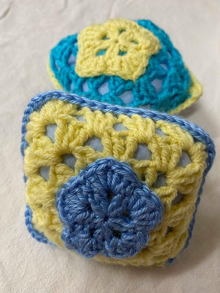 Lemon and Blue Pin Cushion