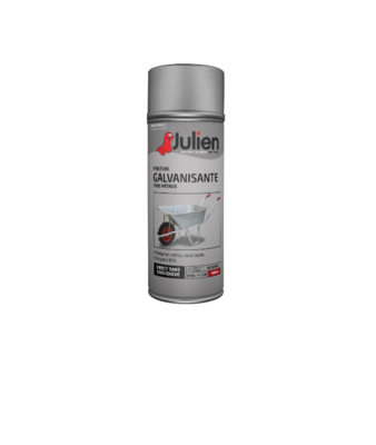 JULIEN PEINTURE GALVANISANTE ANTI ROUILLE ZINC TOUS METAUX SATIN ARGENT 3256615110048 PRO 400 ML SPRAY PAINT DECORATION ART BRICOLAGE RENOVATION RENOVER BOMBE COMASOUND KARTEL CSK ONLINE