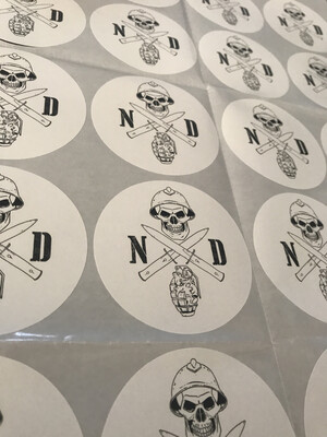 Sticker White Round  NDA Original Logo