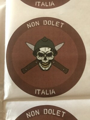 Sticker Dark Red Round  NDA  Logo