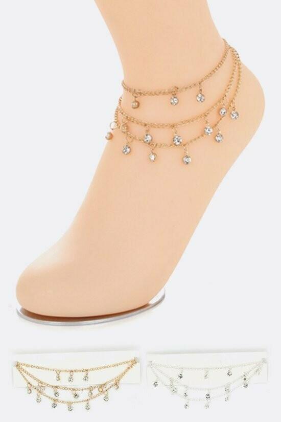 3 Layered Crystal Ankle Bracelet