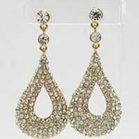 Gold Crystal Teardrop Earrings