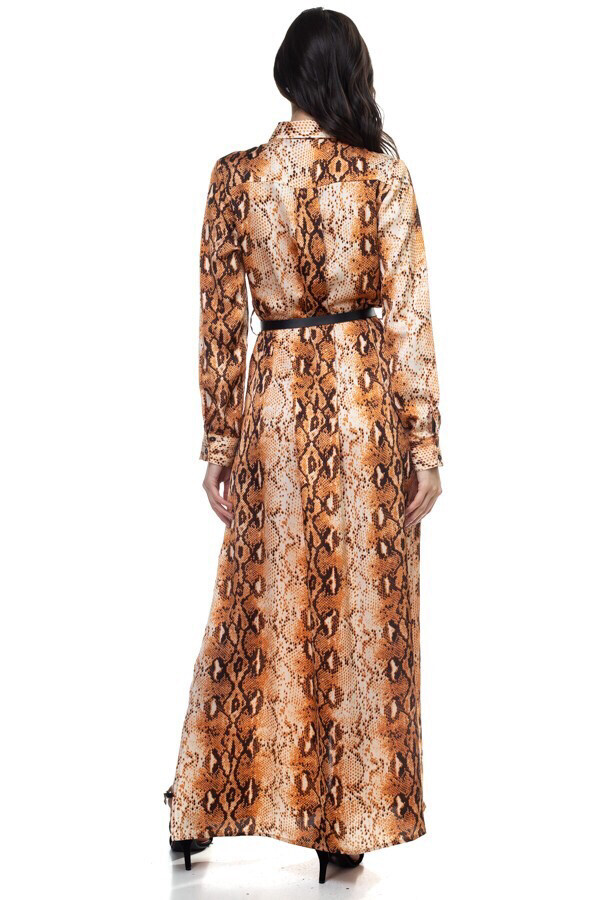 Beautiful Full Length Printed Dress With Belt