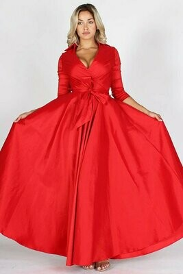 Taffeta wrapped a-line maxi dress with collar, v-neckline, waist tie, 3/4 sleeves, and zipper closure at back