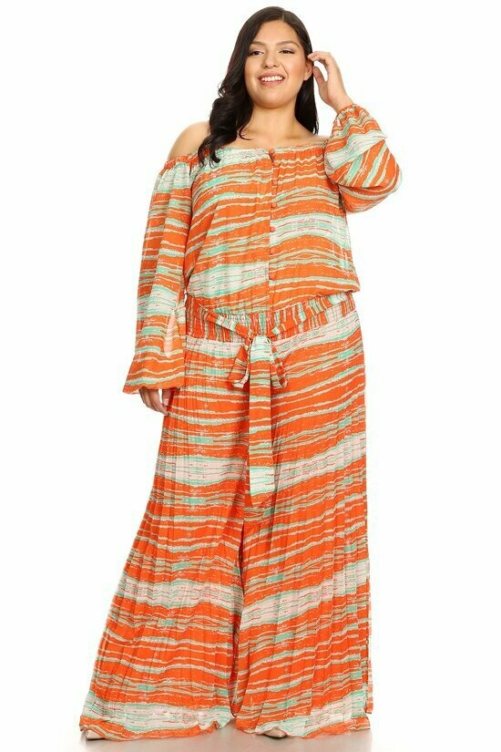 Abstract printed, off shoulder jumpsuit in a relaxed fit, with long sleeves, button down front, waist tie, wide legs, and pleated.