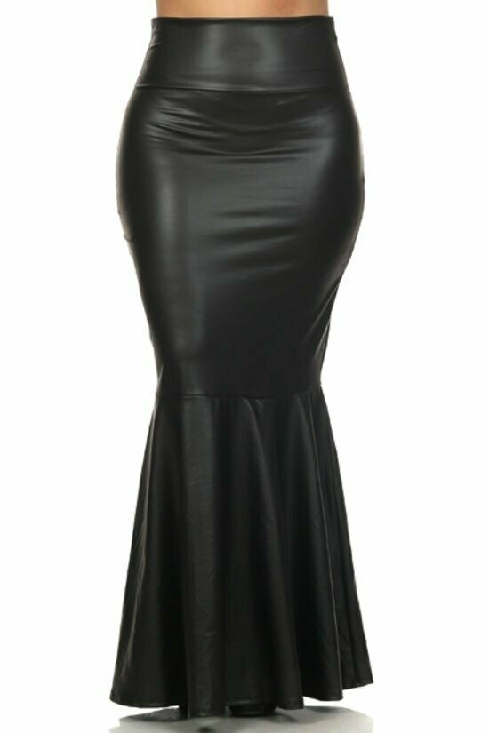 Black  Faux leather, pleated, high waist, mermaid style, maxi skirt