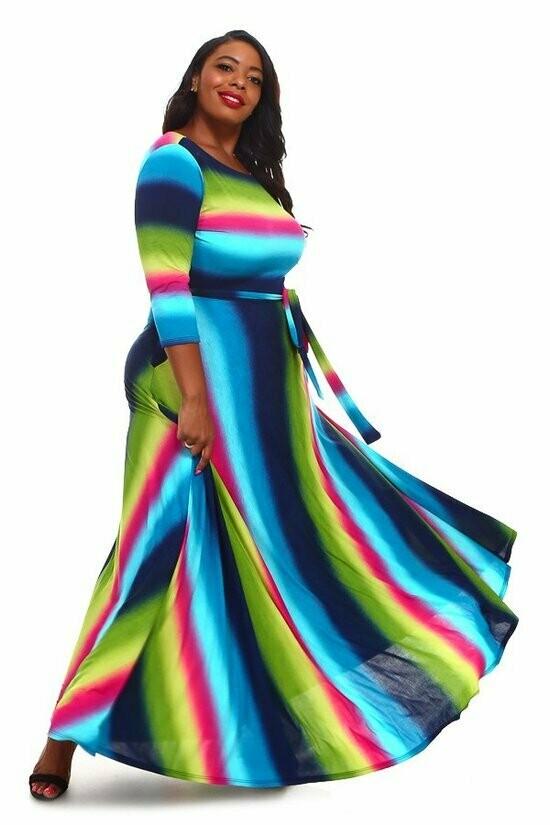 Multicolored Strioed Maxi Dress
