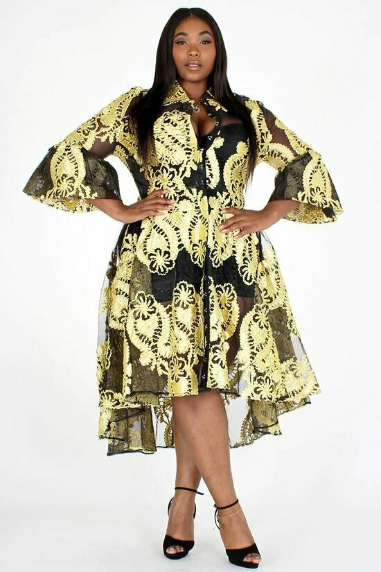 **NO LINING  Tapestry pattern embroidered organza peacoat with button closure, collar, 3/4 length bell sleeves, and high low hem