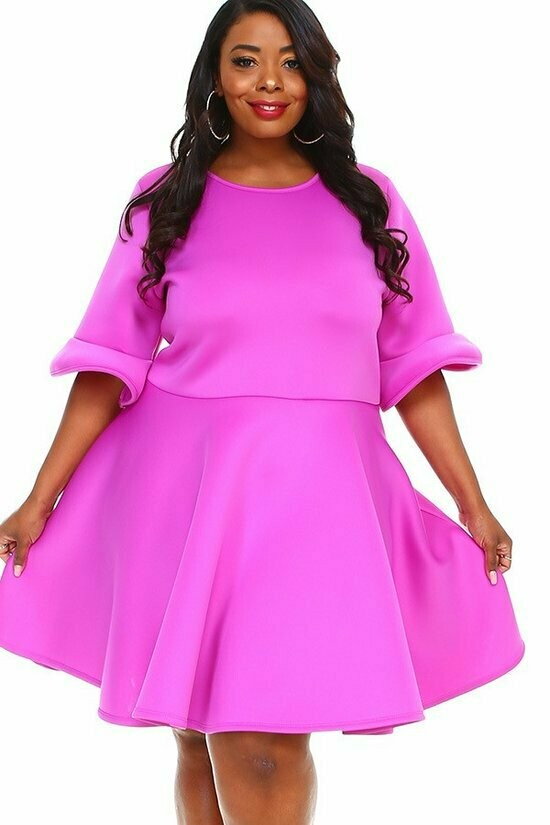 New Style ***SUPER TECHNO 4X5X6X midi dress in a fit and flare style, with short ruffle sleeves, a round neck, and pleats. 4X5X6X
