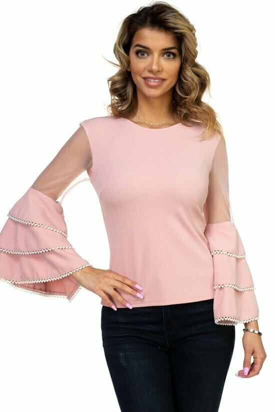 Pink Bell Sheer Sleeve Blouse