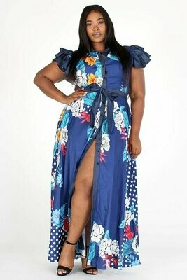 DENIM RUFFLED SLEEVES AND DENIM BELT, BUTTON UP PRINTED MAXI DRESS WITH POCKETS