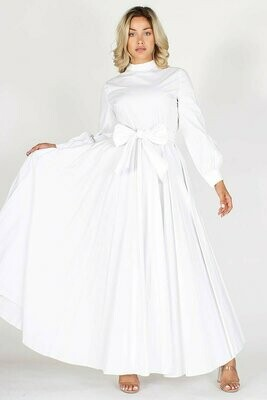 Solid, long sleeve, relaxed fit maxi dress with mock neckline and tied waist