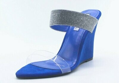Kimber Lucite Pointed Open Toe Rhinestone Strap Wedge