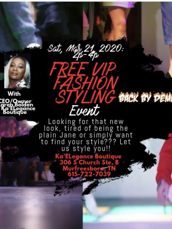 FREE VIP FASHION STYLING EVENT