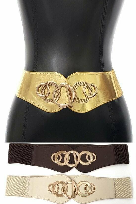 Beautiful Western Fashion Circle Gold Metal Hook Elastic Wide Belt