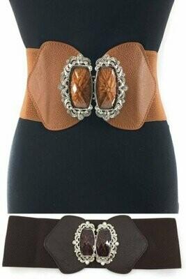 Wide size, Fancy rhinestones round the buckle, big color bead, silver buckle elastic belt.