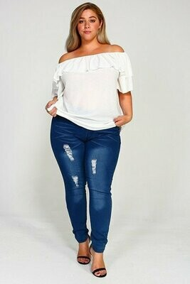 Plus Ripped Stretch Jeans