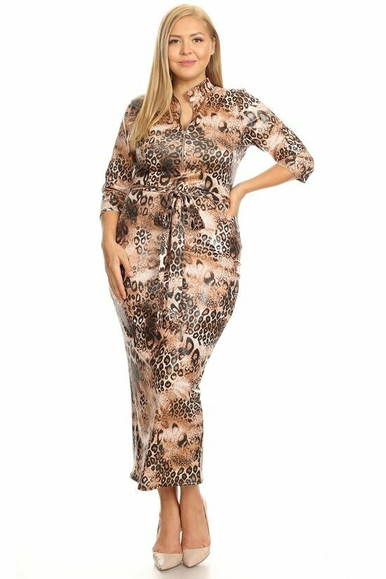 Gorgeous Animal Print Dress with Belt