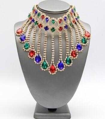 Beautiful Crystal Fringe Choker Necklace Set