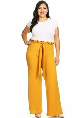 Adorable Wide Leg Pant with Ruffles Tie Belt.