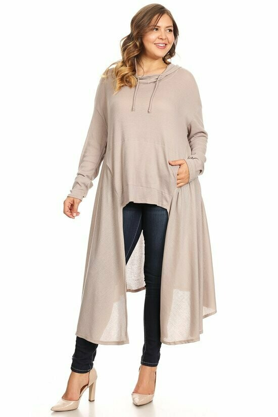 Adorable Beige Pullover Cardigan with HoodIe.