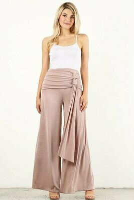 Mauve Elegant Bell Pants with Tie