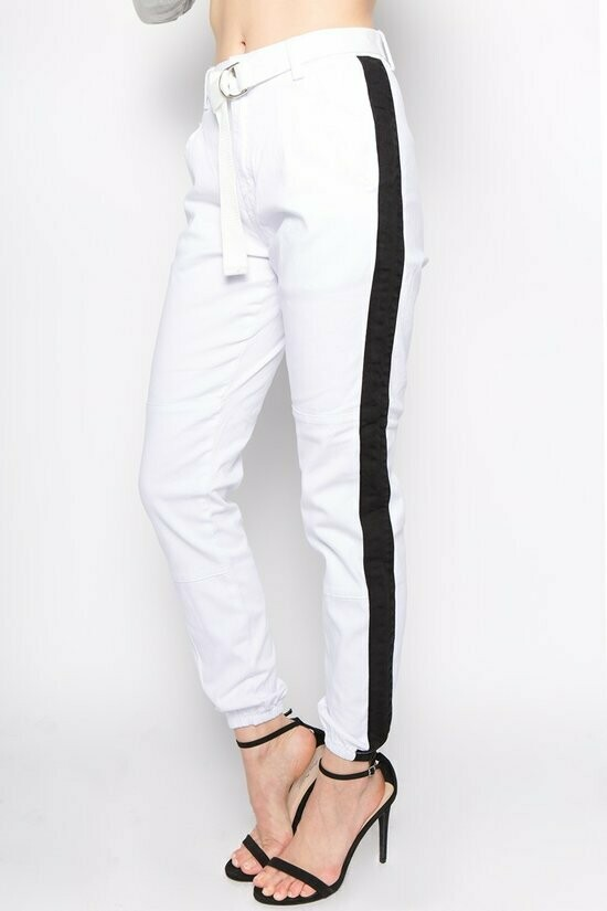 White Joggers with Black Stripe