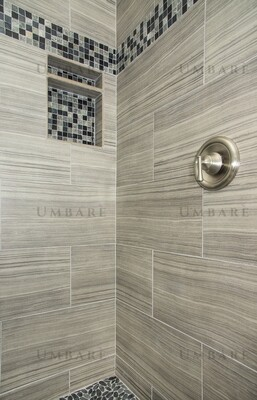 Shower Stall Tiled Walls and Floor with New Showerhead and Controls