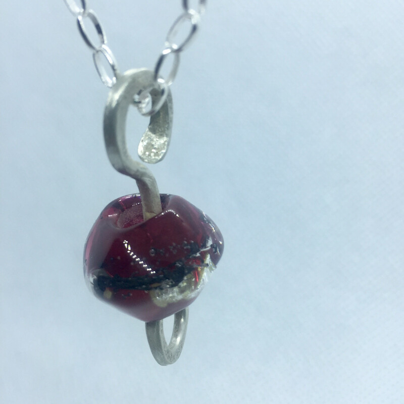 red handmade lampwork glass bead pendant