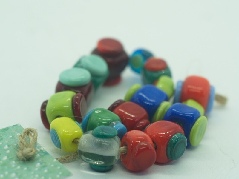 handmade square emubeads with contrasting dots for jewellery making
