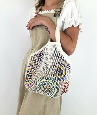 ANGELA- Tote Netted Lined Bag, Slouchy Bag