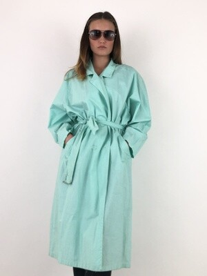 Vintage Trench Coat in Tiffany Green