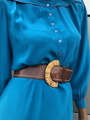 Straw Circle Buckle Belt