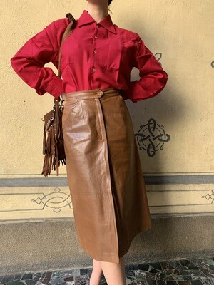 Vintage Leather A line midi skirt in chestnut