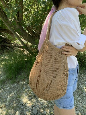 Ecru String Fishnet Market Bag