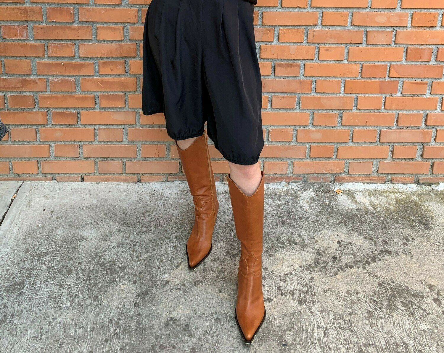 Texan Leather Boots Pointed Toe