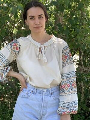 Vintage Peasant Shirt  Boho Blouse