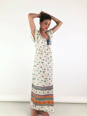 Vintage Floral 70's Maxi Dress in White