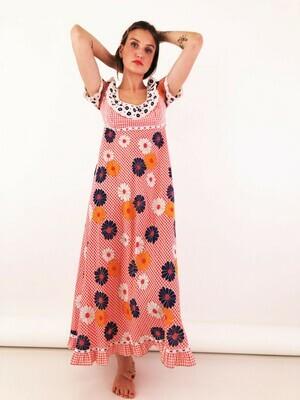 Vintage Floral 70's Maxi Dress Praire