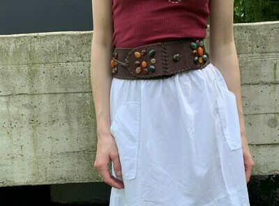 Vintage Boho Belt Leather with Studs