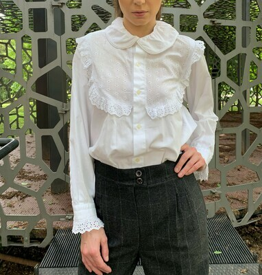 Vintage Peter Pan Collar Blouse with Lace Bavarian