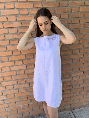 Vintage Mini Dress in White Linen with Embroidery