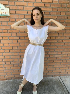 Vintage 1970's White Embroidered Sundress Slip