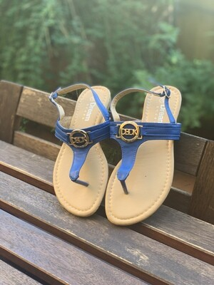 Vintage Flat Thong Sandals in Blue Electric EU 37