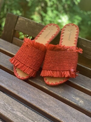 Vintage Straw Slippers in Red Rafia Sliders EU 37
