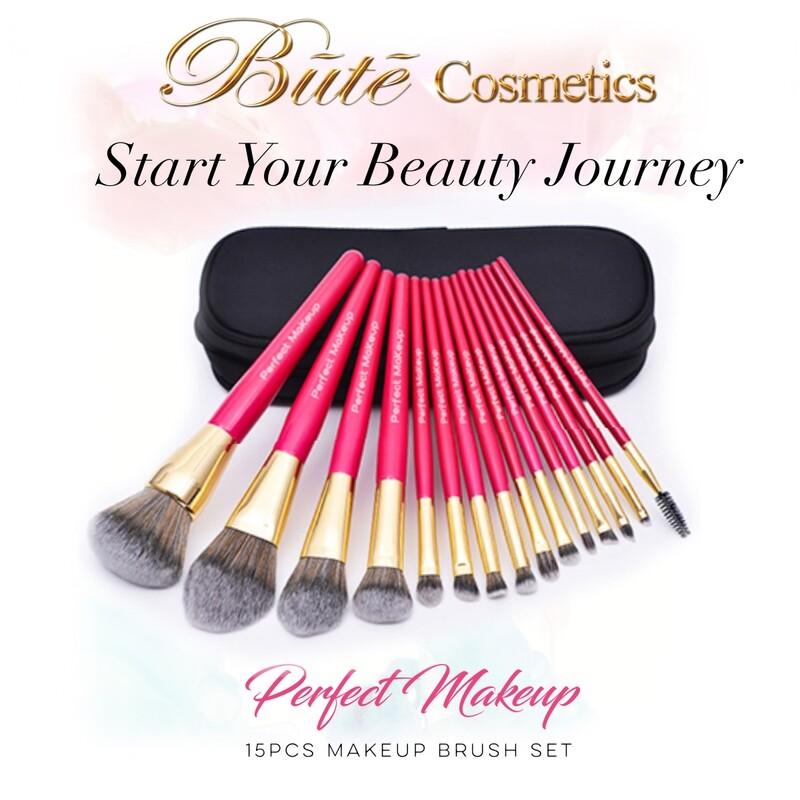 15Pcs Premium Pink Vegan Makeup Brush Set