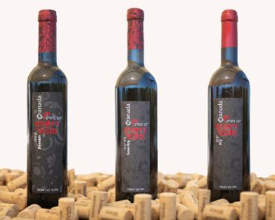 3 bottles of pomegranate wine: dry, semi dry and dessert. 3 бутылки гранатового вина: сухое, полусухое и десертное