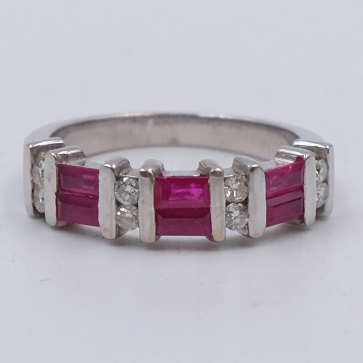 Vintage 18K White Gold Rubies and Diamonds Ring