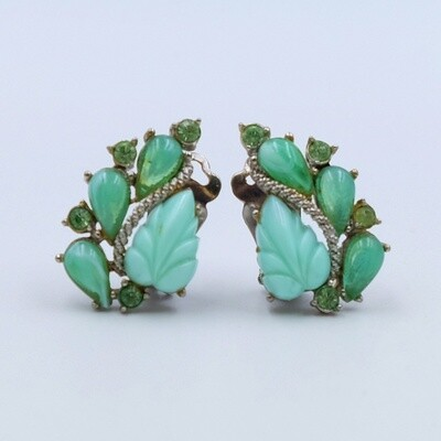 Vintage Green Plastic Earrings 1950's