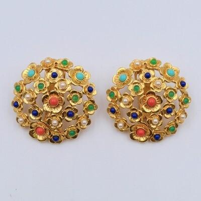 Vintage Flower Earrings Multicolor